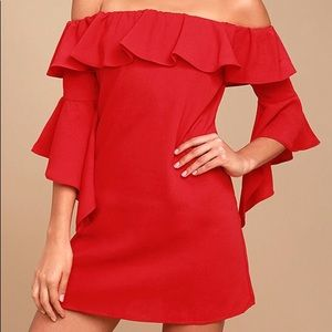 Lulus Red Off the Shoulder Body Con Dress Large